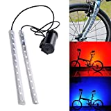 haixclvyE MTB Bike Lamp Bicycle Front Rear Fork Lamp 12-LED 8 Modes Strip Light Bar Wheel Decor Lamp Cycling Safety Warning Light