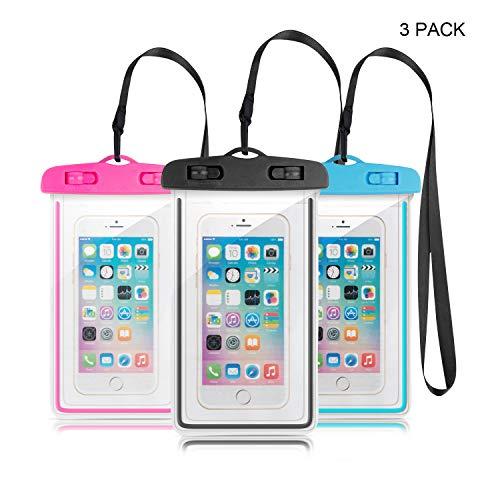 Leenou Custodia Impermeabile Smartphone IPX8 Custodia Impermeabile per iPhone X XR 6 6s Plus, Samsung S8 S7, Huawei P8 P10 P20, Tutti i dispositivi Fino a 6 Pollici (Nero + Blu + Rosa)