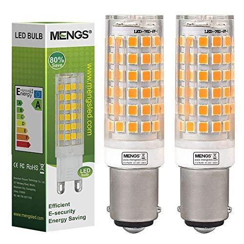 MENGS Pack de 2 Bombilla LED B15D 10W Luz LED AC Blanco Cálido 3000K, 220-240V, 850LM (Equivalente a 80W) Con Ceramics + PC