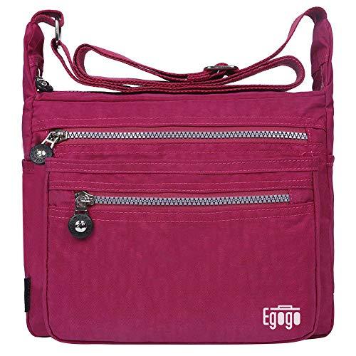 EGOGO Damen Umhängetasche Messengertasche Schultertasche Henkeltasche mit Reißverschluss E303-5 (Rosa)