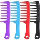 Peine antiestático grande para desenredar dientes, peine para cabello largo y rizado, 4 unidades, multicolor