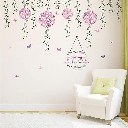 Colorido Primavera Volando Mariposa Floral Vine Pegatinas de Pared Sala de estar Dormitorio Tv Fondo Sofá Ventana Decoración Arte de la etiqueta de la pared