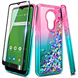 NZND Case for Nokia C5 Endi (Cricket Wireless) with Tempered Glass Screen Protector (Full Coverage), Sparkle Glitter Flowing Liquid Quicksand, Women Girls Cute Phone Case (Pink/Aqua)