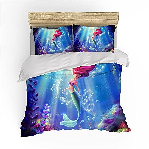 Juego de ropa de cama The Little Mermaid,Ariel Niño Funda nórdica Flounder AnimationPrince Eric 3 piezas, 135 x 200 cm (Ariel2, 135 x 200 cm + 80 x 80 cm x 2)