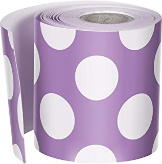 Schoolgirl Style Rolled Straight Borders, Purple with Polka Dots (108325)