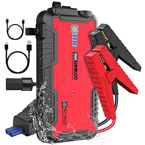 GOOLOO Arrancador de Coches 15000mAh 1500A Booster Automático de Batería para hasta 8L de Gasolina y 6L de Motor Diésel con Carga Rápida Tipo-C(I/O) y USB, IP65 Impermeable Arrancador de Saltos