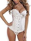 Beauty-You Femme Bustiers et corsets Broderie Serre-Taille Guêpière Noeud Papillon avec G-string White 2XL