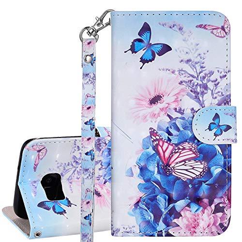 ISADENSER Samsung Galaxy S8 Protection Case for Girls Women Case 3D Emboss Design PU Leather [Wallet Stand] [Card Slot][Magnetic Clasp] Flip Case for Samsung Galaxy S8 3D Rose Butterfly RX