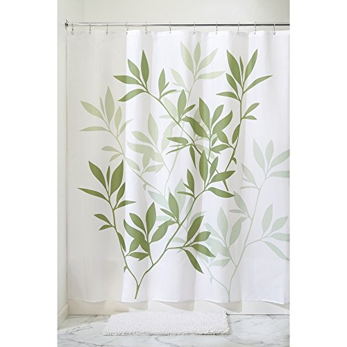 iDesign Leaves Fabric Shower Curtain - Stall, 54' x 78', Green