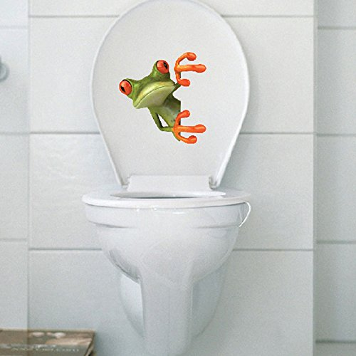 BestOfferBuy Crazy Green Frog Shore Bathroom Toilet Seat Lid Cover Decal Sticker