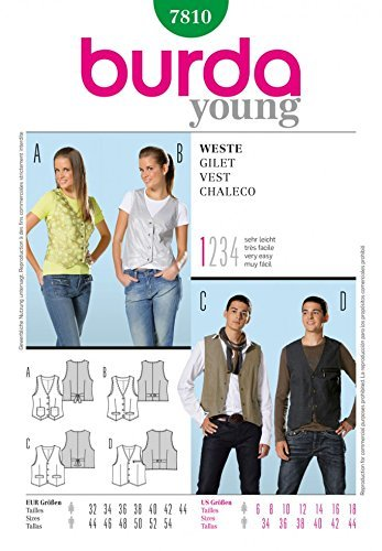 Burda Herren & und Damen Young Fashion Damen Schnittmuster 7810 Weste, Gr. 34-44 EU / 6-18 (DE) 112 UK