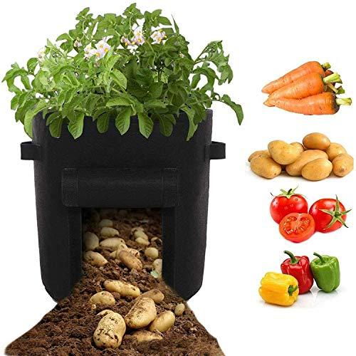 Lytrek Pflanzsack aus Vliesstoff,10 Gallons mit Fenster/Klettverschluss/Tragegriffen,Pflanzbeutel Geeignet für Kartoffeln,Tomaten,Erdbeeren,Blume usw (43L)