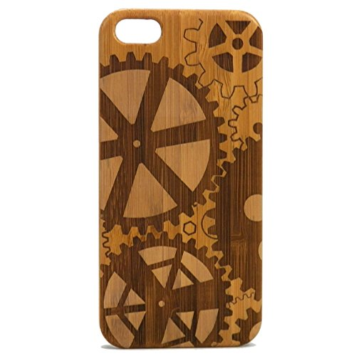 iMakeTheCase Steampunk Gears Case for iPhone SE (2016), iPhone 5 or iPhone 5S Eco-Friendly Bamboo...