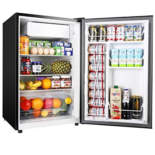 TECCPO 4.5 Cu.Ft Small Refrigerator, Energy Star, Auto Defrost, Mini Fridge with Freezer, Super Quiet, Small Fridge for Dorm, Bedroom, Office, Black-TAMF33