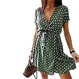 Carolilly Vestido de verano para mujer, cuello en V, estilo bohemio, con estampado de flores, para la playa Verde D. XL