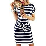 PALINDA Women's Striped Elegant Short Sleeve Wear to Work Casual Pencil Dress with Belt (Navy Blue,S)