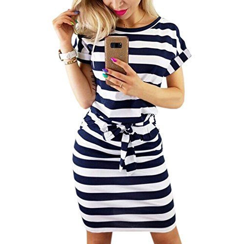 PALINDA Women's Striped Elegant Short Sleeve Wear to Work Casual Pencil Dress with Belt (Navy Blue,L)