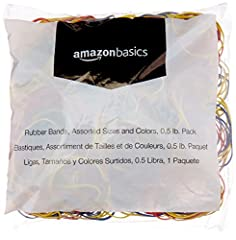 1-pack (1/2-pound bag) of assorted rubber bands in Red, Blue, and Yellow colors Made of natural rubber for smooth, stretchability Offer tensile strength and re-usable convenience Ideal for home or office; keep items conveniently bundled and neatly or...