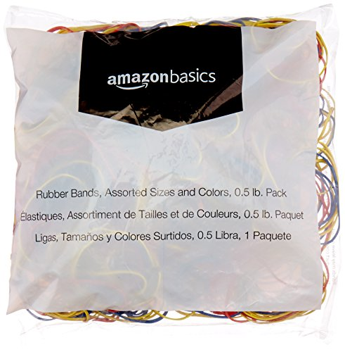 Amazon Basics Assorted Size and Color Rubber Bands, 0.5 lb.