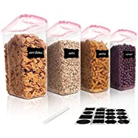 Vtopmart 4-Piece Cereal Storage Container Set (Pink)
