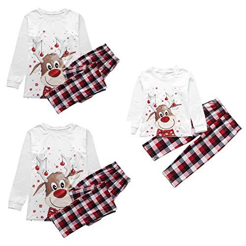Christmas Family Matching Pajamas Set Deer Print Top Classic Plaid Pants Xmas Sleepwear for Men,Women,Teens,Kids,Newborn Baby (Deer, Men-X-Large)