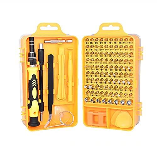 Kit de herramientas de reparación de destornilladores de precisión 115 en 1 Accesorio de destornillador magnético pequeño para computadora portátil, escritorio, reloj, teléfono inteligente,,Amarillo