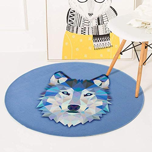 N / A Ronda Animales Alfombras Alfombras Sala de Estar Dormitorio Alfombras Suave Sala Infantil Alfombras Decoración Mats (Color : Azul, Talla : 60x60cm)