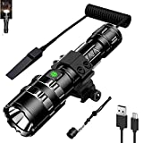 DZSF Ultra 1200 Lumens LED Tactical Flashlight Bright USB Rechargeable Waterproof Scout Light Torch Hunting Light 5 Modes
