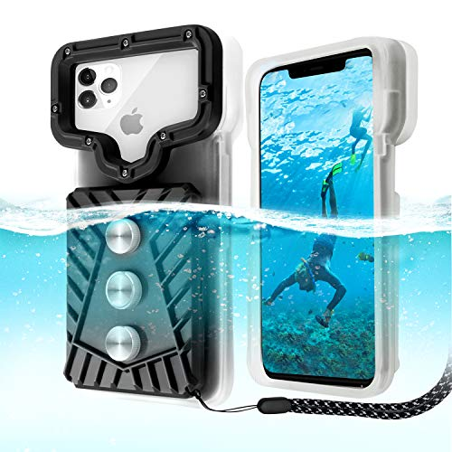 Professional Diving Phone case, Zenoplige Universal Fit Waterproof Snorkeling Photo \& Video Smart Phones Clear Cover Triple IP68 Protect Dry Bags Pouch [20m/65ft], Cell Phone Swimming Skiing Protect
