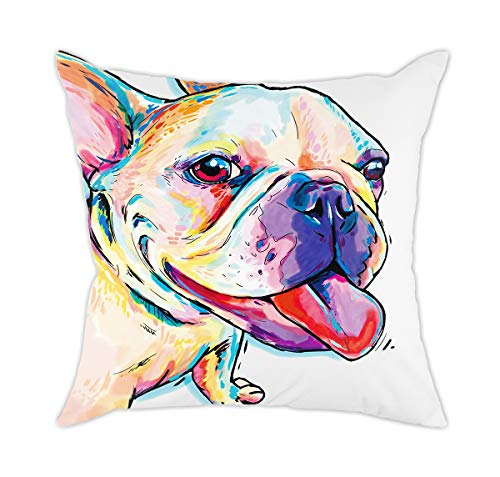 "Redland Art Cute Pet Frenchie Dog Pattern Throw Pillow Covers Polyester Cushion Cover Cases Pillowcases Sofa Home Decor 18""x 18""Inch (45 x 45cm)"