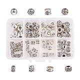 nbeads 1 scatola 80 pz/scatola lega perline europee perline in lega per bracciale creazione di gioielli dreadlocks intrecciare accessori per capelli decorazione, forme misto, argento antico