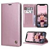 RuiPower Kompatibel für iPhone XR Hülle Premium Leder PU Handyhülle Flip Case Wallet Lederhülle Klapphülle Klappbar Silikon Bumper Schutzhülle für iPhone XR Tasche - Rose Gold