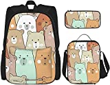 Cut Baby Bear Mochila Bookbags Set con bolsa de almuerzo Estuche de viaje