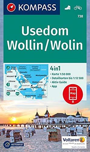 KOMPASS Wanderkarte Usedom, Wollin/Wolin: 4in1 Wanderkarte 1:50000 mit Aktiv Guide und Detailkarten inklusive Karte zur offline Verwendung in der ... (KOMPASS-Wanderkarten, Band 738)