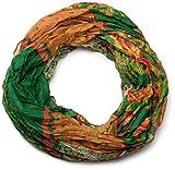 styleBREAKER fular de tubo con motivo mixto de flores, tela crash y arrugada, cachemira, puntos, flores, rosas 01014008, color:Verde-naranja