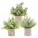 TURMIN Plantas Artificiales Plásticas de Maceta, Set de 3 Planta Artificial Decorativa con Césped...