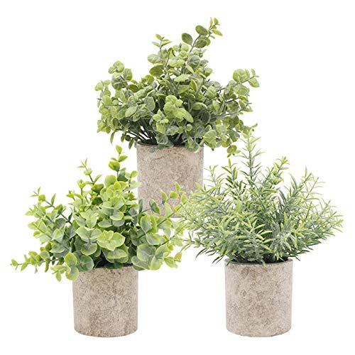 TURMIN Plantas Artificiales Plásticas de Maceta, Set de 3 Planta Artificial Decorativa con Césped Verde en Macetas Grises, Plantas Pequeñas para la Decoración de la Casa Cocinas Oficinas