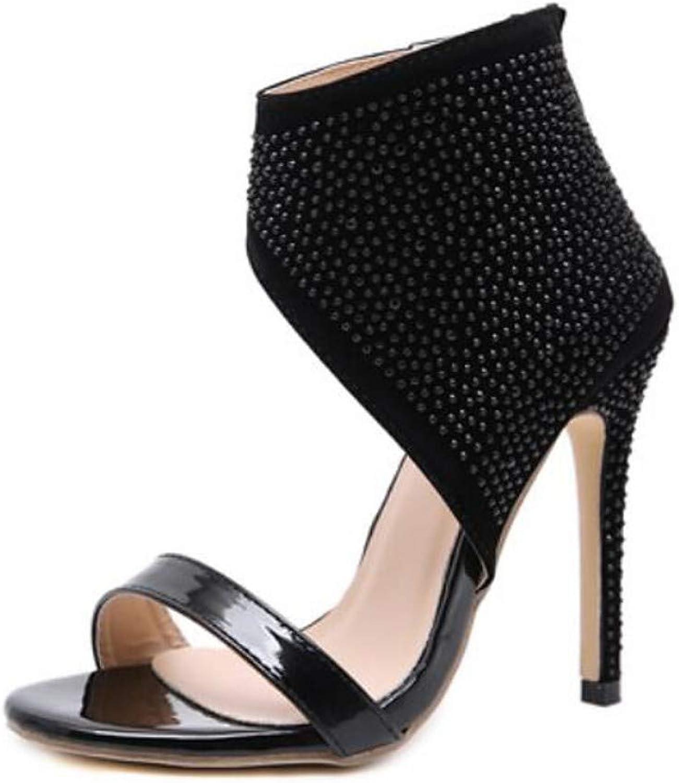 ZHZNVX Women's PU Spring & Summer Sandals Stiletto Heel Black