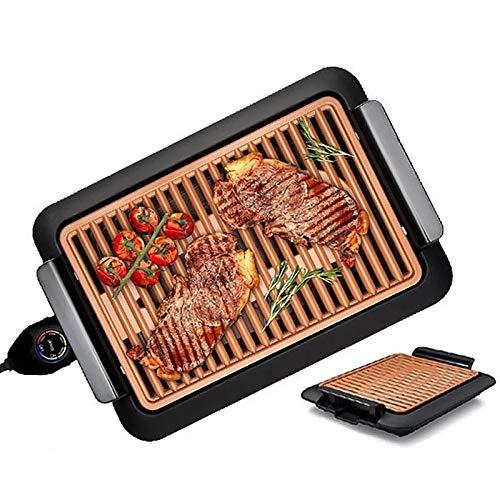 XIJING Elektrischer rauchfreier Grill/Antihaft-Grillplatte/beheizter Grillrost mit Temperaturregler, schneller Grill