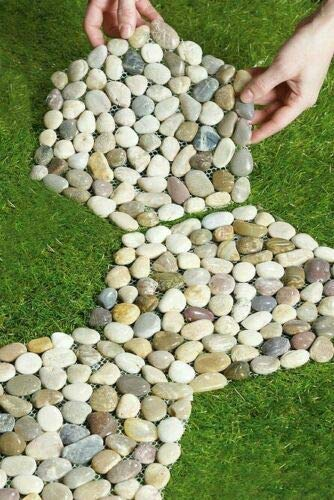 Set of 3 Pebble Stepping Stones BEAUTIFUL COLORFUL GARDEN HOME DECORATION ITEM, Add Texture And Interest To Your Yard Or Garden.