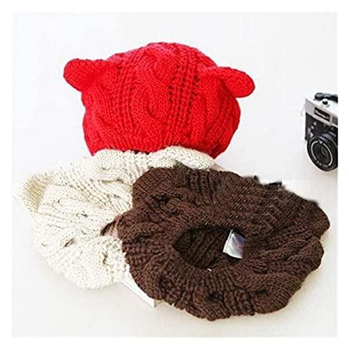 JSJJAEY Sombrero de Invierno Encantador Gato Orejas de Punto Sombrero Mujeres Color sólido Invierno cálido Sombreros señora Kawaii Gorro de Invierno Gorros Casuales (Color : Red, Size : One Size)