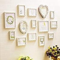 14マルチフォトフレームセットヨーロピアンスタイル木彫りフォトフレームホワイトミニマリストホームソファ寝室の背景写真の壁