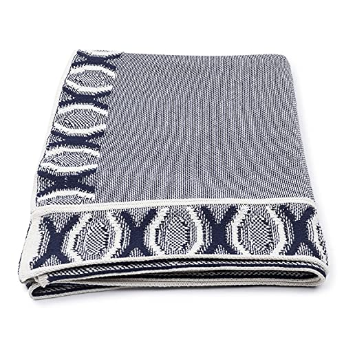 Vezavena   Manta con Motivos Geométricos en Color Azul Navy y Crudo para Sofás o Camas   Elaborada con Algodón Ecológico Reciclado   Textil de Hogar para Salón o Habitación - 120x170 cm