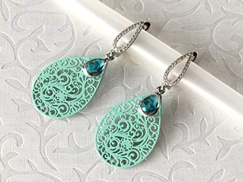 Bohemia Ohrringe rhodiniert mit Zirkonia und Juwelierglas, Filigran, Türkis, Ornament Ohrhänger, Brautohrringe