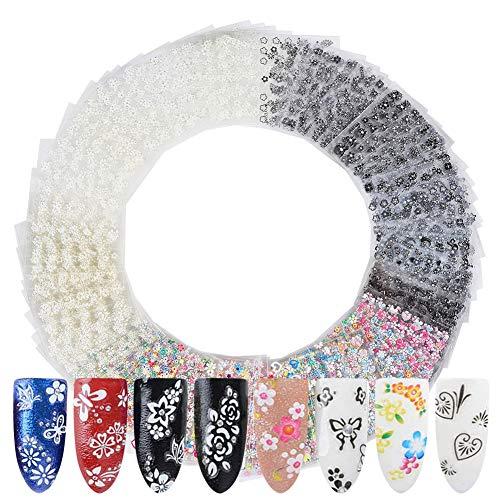 Smilcloud 150 Blatt 3D Design Nagel Sticker Nagelsticker Nail Art Tipp 3D Nail Art Sticker für DIY Nail Art Dekoration Phone Case Karten Dekoration Mode Accessoires