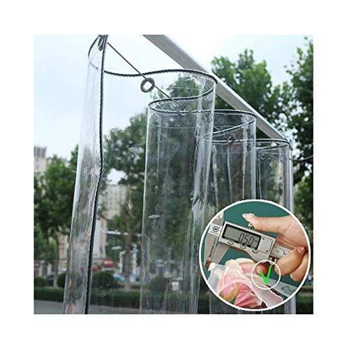 Transparente Lona- PE Claro Impermeable Cortinas Al Aire Libre con Ojal- 0.5Mm Más Grueso Resistente Al Clima Cubiertas De Plantas para Solárium Kiosko Jardín, 23 Tamaños,Clear,2.4x2m