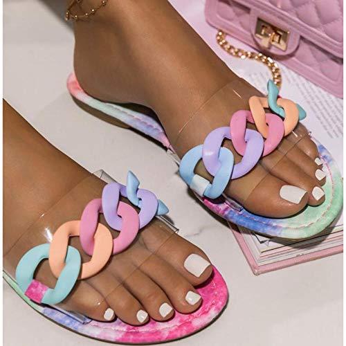 ypyrhh Baño Sandalia Suela De Suave,Moda de Verano, Arena, Zapatillas de Cadena de Color Caramelo-Pink_36,Verano de Las Mujeres Casual Chanclas