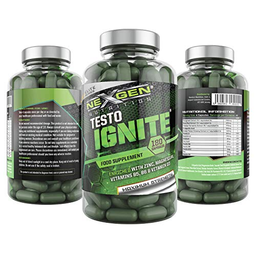Testo Ignite for Men 180 Capsules, High Strength Men's Support Supplement with Zinc, Magnesium and Selenium, High Strength Booster.