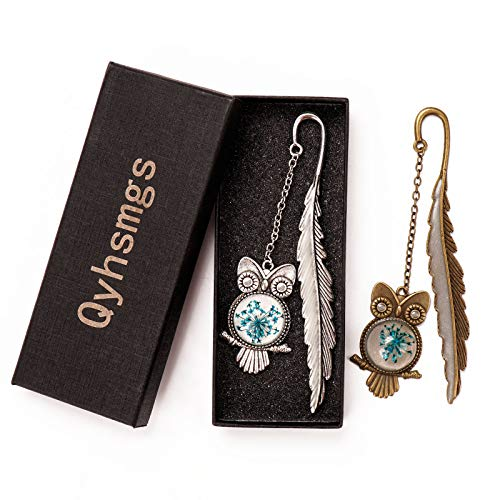 Qyhsmgs Metal Bookmarks Retro Feather Owl Luminous Mark Friend Funny Glow in The Dark Cute Women Men Unique Pretty Separator Book Lovers Girls Kids Adults Gift (owl)