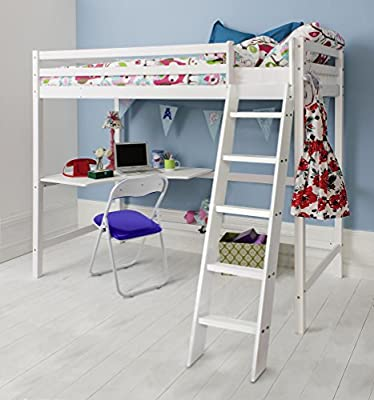 Noa and Nani - Thomas High Sleeper Cabin Bed with Desk - (White)